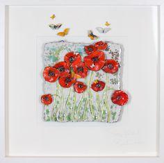 Poppy Fields with butterflies iii Lrg – Rebeka Kahn Artwear Subtle Background, Clay Art, Poppies, Poppy Fields, Sculptures, Butterfly, Pottery Ideas, Flowers, Ireland