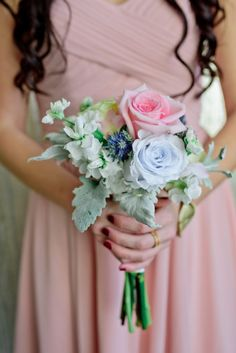 blush and blue bouquet | Plan It Event Design & Management | Orlando Wedding Planner | Photo by Jillian Tree Photography