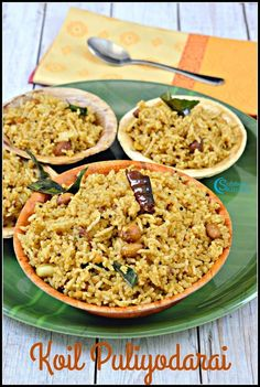 The Puliyodharai served in the temples have an unique taste and flavor. This recipe is also commonly being referred as Iyengar Puliyodharai. It tastes divine, may be we are tasting in small quantity that too in the temple. Tamarind Rice Recipes, Jaggery Recipes, Puri Recipes, Indian Food Recipes, Vegetarian Recipes, Snack Recipes, Cooking Recipes, Ethnic Recipes, Cake Recipes