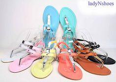 NEW Fashion Color Buckle T-Strap Slingback Flat Sandal Women's Shoes Size 6 - 11