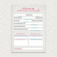 make us laugh wedding reception game - printable file - bridal shower game…