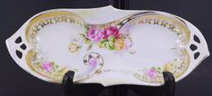 Vintage Germany Celery Relish Dish White w/ Pink & Yellow Roses Gold Gilded Trim