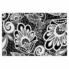 """Petit Griffin """"Floral Lace BW"""" Abstract Modern Decorative Door Mat"""