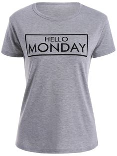 Short Sleeve Hello Monday Graphic Tee - GRAY 2XL
