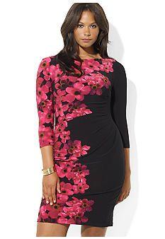 Lauren Ralph Lauren Plus Size Three-Quarter-Sleeved Floral Matte Jersey Dress