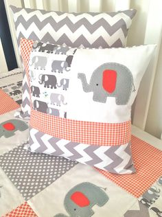 Elephant Baby Crib Quilt and Pillow in Orange by AlphabetMonkey. I might be able to recreate this in different colors?