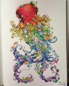 ✔2016.3.19 낙서침공 [ No.2 ] ➡ Rainbow Jellyfish. The finished painting☺  #낙서침공 #DoodleInvasion #커비로자네스 #KerbyRosanes #한스미디어 #컬러링북 #ColoringBook  #Colouring #ColoringArt  #mycreativeescape  #jardimsecreto #파버카스텔폴리크로모스  #fabercastellpolychromos #책스타그램 #취미 #소통 #일상 #힐링 #Healing