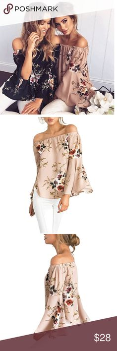 """Floral Off The Shoulder Bell Sleeve Blouse Women's Floral Off The Shoulder Bell Sleeve Chiffon Blouse  Polyester + Chiffon blend  Colors: Apricot or Black  S- BUST 44.09"""" SLEEVE 19.07"""" LENGTH 20.28"""" M- BUST 46.46"""" SLEEVE 19.49"""" LENGTH 20.87"""" L- BUST 48.82"""" SLEEVE 19.88"""" LENGTH 21.46"""" XL- BUST 51.18"""" SLEEVE 20.08"""" LENGTH 22.05"""" Tops Blouses"""