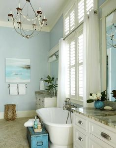 34 Great Coastal Bathroom Design And Decor - Home Design Seaside Bathroom, Coastal Bathroom Decor, Nautical Bathroom Design Ideas, Beach House Bathroom, Nautical Bathrooms, Beach Bathrooms, Beach House Decor, Bathroom Designs, Beachy Bathroom Ideas