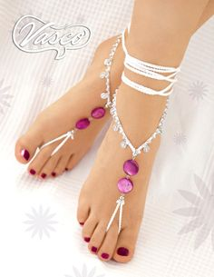 Items similar to Barefoot Sandals. Purple Mother Of Pearl. Gift For Her on Etsy Crochet Barefoot Sandals, Barefoot Shoes, Barefoot Running, Ankle Jewelry, Ankle Bracelets, Feet Jewelry, Hippie Shoes, Beautiful Toes, Women's Feet