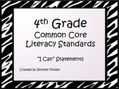 Common Core I Can Statements for 4th Grade with Zebra border