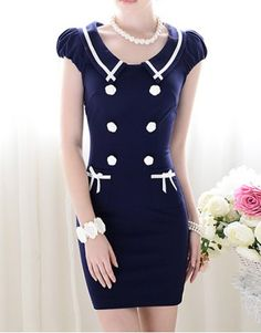 Vintage Peter Pan Collar Double-Breasted Puff Sleeve Bodycon Dress For Women