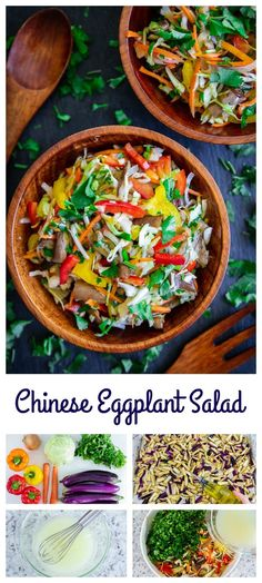 Fresh crips vegetables and baked Chinese eggplants are the perfect companion to the olive oil and vinegar dressing in this slavic salad. #eggplantsalad #bakedeggplant #slavicsalad #weddingsalad