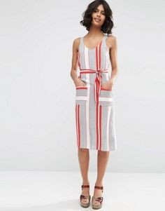 """ASOS Stripe Wide Strap Cami Sundress with Pocket Detail $52.00 Lightweight woven fabric  Scoop neckline  Matching tie waist belt  Front pockets  Regular fit - true to size Machine wash 100% Viscose  Our model wears a UK 8/EU 36/US 4 and is 175 cm/5'9"""" tall"""