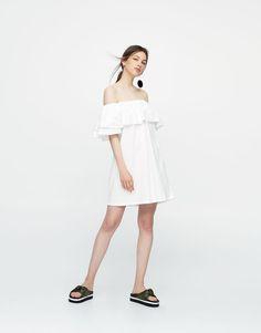 Pull&Bear - mujer - ropa - vestidos - vestido escote volantes hombros al aire - blanco - 09391317-I2017