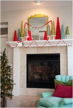 i am so thrilled that our fireplace and mantel are featured in the current issue of cottages and bungalows magazine. you've got to pick up a copy at your local grocery store or bookshop, or online. it's full of fun creative ideas. for the mantel, i tore fabric into strips and hot-glued them to cone …