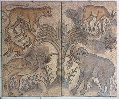 Scene with wild animals, Roman mosaic, 2nd–3rd century AD