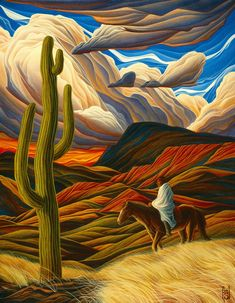 Buy Giclee - Nomad on Giclee by William Haskell. William Haskell is from Santa Fe, NM and is represented by K Newby Gallery Action Painting, Painting & Drawing, Southwestern Art, Desert Art, Cactus Art, Mexican Folk Art, Art Graphique, Native American Art, American History