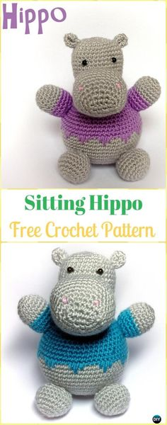 Crochet Amigurumi Sitting Hippo Free Pattern - Amigurumi Crochet Hippo Toy Softies Free Patterns