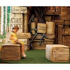 CHILDREN's LIBRARY in Brentwood, Tennessee. Little Girl. Oversize Trompe L'oeil Books. Wow.