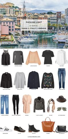 What to Pack for Paris, Italy, Greece Packing Light List #packinglist #packinglight #travellight #travel #livelovesara