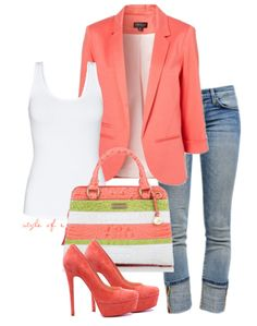 Beautiful And Stylish Outfit Coral colors. No way I can walk in those tower-high pencil thin heels though.