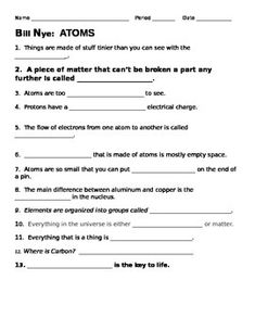 Printables Atoms Worksheet bill nye atoms nice and worksheets this 13 question video guide sheet provides a way for students to follow along with the questions are all fill in blank