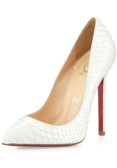 Christian Louboutin White Pigalle Python Point-Toe Red Sole Pumps #CL #Louboutins #Shoes