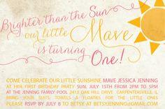 Etsy - Sunshine 1st Birthday Party Invitation (girls)