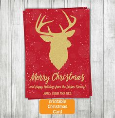 Printable Christmas Card Holiday Card by RedRedRoseHandmade