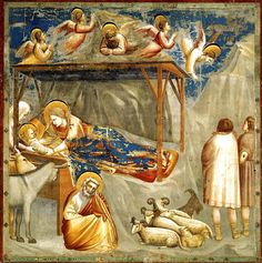 Giotto - The Nativity. Christ seen in profile so as to mimic Roman coinage. Profile the most revered view.
