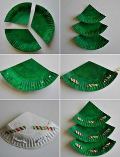 Basteln mit Papptellern anleitung-weihnachtsbaum-bastelideen-weihnachten