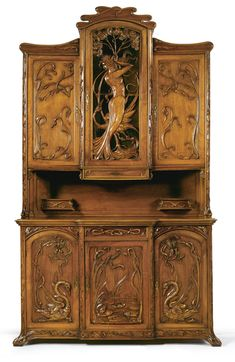 ~ An Art Nouveau Carved Walnut Buffet À Deux Corps France or Belgium, circa Victorian Furniture, Unique Furniture, Vintage Furniture, Rustic Furniture, Furniture Sets, Outdoor Furniture, Furniture Storage, Furniture Online, Furniture Design