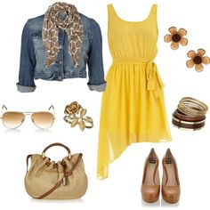 yellow & tan, created by bonnaroosky on Polyvore