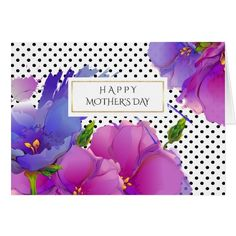 Happy Mother's Day . Flower Watercolor Painting with Polka Dot pattern background design personalized Mother's Day Greeting Cards. Matching cards, postage stamps and other products available in the Holiday / Mother's Day Category of the Mairin Studio store at zazzle.com