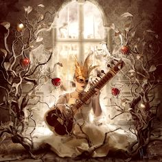 Story prompt: answer why this princess or queen is here, and find three words to describe the music she might be playing - how does the music affect the setting, or how does the setting affect the music?