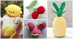 Crochet Amigurumi Fruits Free Patterns: Fruit Softies and Toys for Kids, Kitchen and Home Decoration: Apple, Pear, Raspberry, Strawberry, Watermelon...