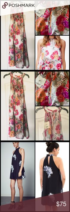 """SHILLA THE LABEL 🌺 Floral High Neck Mini NWT Whether it be a wedding, races or cocktail party, this dress is perfect for all your spring time events High neck collar with keyhole. Deep keyhole from nape  Front neckline pleat for extra flare Mini length Cold hand wash 100% Polyester Model is wearing a different print to show the fit and wears  a small and is 5""""11 - 180cm. Size large, fits Medium to Large. NWT Shilla The Label  Dresses Mini"""