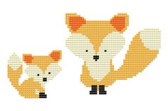 Cute Mama and Baby Foxes Cross Stitch Pattern - PDF - Instant Download