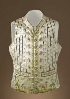 1785. French. Silk satin with silk embroidery and silk grosgrain ribbon. LACMA