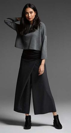 EILEEN FISHER New Arrivals: Fine Merino Crop Top, Silk Top + Wide-Leg Cropped Twill Pant