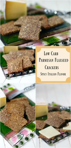 Quick and easy! Low carb Parmesan flaxseed crackers with just 0.2g net carbs each! Crispy spicy Italian flavor. SO good!!!