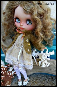 BLYTHE DOLL Dress - Vintage fabric with matching Gold mohair cardigan + vintage