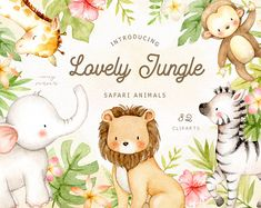 Ad: Lovely Jungle Safari Animals Clipart by everysunsun on The set of high-quality hand-painted watercolor safari animals and jungle element images. A giraffe, elephant, lion, zebra, and monkey are Arctic Animals, Jungle Animals, Woodland Animals, Baby Animals, Forest Animals, Safari Png, Jungle Safari, Watercolor Animals, Watercolor Cactus