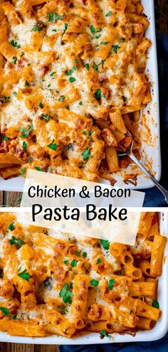 AMAZING Cheesy Pasta Bake With Chicken And Bacon - a family favourite (and it makes great leftovers too! pasta bake Cheesy Pasta Bake With Chicken And Bacon Chicken And Bacon Pasta Bake, Baked Chicken Pasta Recipes, Cheesy Pasta Bake, Cheesy Pasta Recipes, Bacon Recipes, Pizza Pasta Bake, Pasta Dishes With Chicken, Pasta Bake Recipes, Pasta Bake Sauce