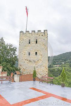 Heliport in medieval castle Tropsztyn. Poland