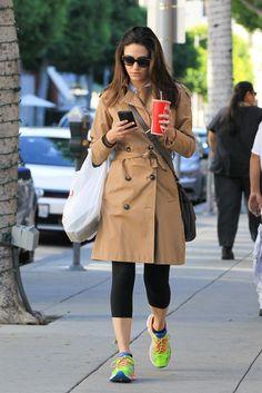 Emmy Rossum wearing Longchamp Balzane Cross-Body Bag, Versace 4270 Sunglasses and Topshop Cotton Trench Coat