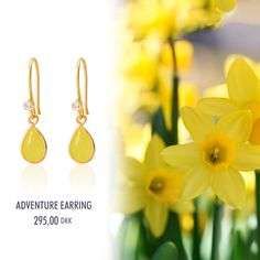 Easter's New Yellow Fashion Adventure Earrings in gold plated silver with yellow stone.