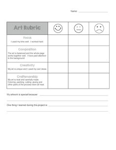Art Rubric for Elementary Do you use rubrics for self-assessment with your students? I developed this rubric based on others I had seen online. I wanted to get my students thinking more about their artwork and writing a few sentences in reflection. Middle School Art, Art School, High School, Art Education Projects, Art Projects, Class Projects, Student Self Assessment, Formative Assessment, Grade 1 Art