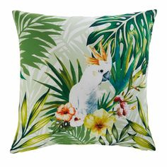Cojín de jardín de tela con estampado tropical 45x45 cm CACATOES